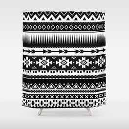 Aztec Pattern Black and White Shower Curtain