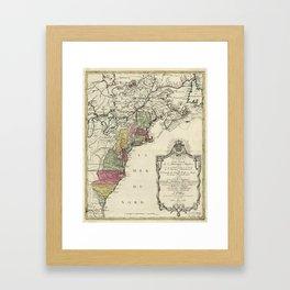 Colonial America Map by Matthaus Lotter (1776) Framed Art Print