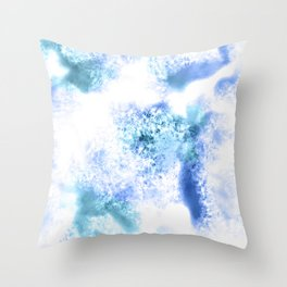 Bright Blue Marble Crystal Watercolor Throw Pillow