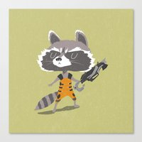rocket raccoon Canvas Prints featuring Rocket Raccoon by Rod Perich