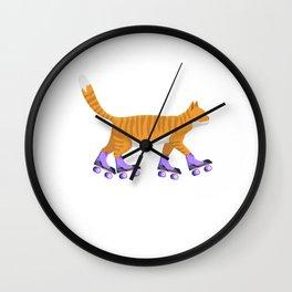 Inline Skating Cat Kitten Rollerblading Skates Gift Wall Clock