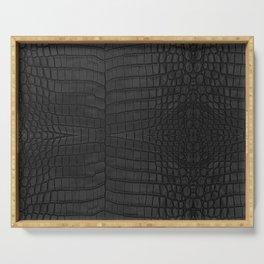 Black Crocodile Leather Print Serving Tray