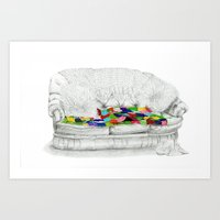 sofa Art Prints featuring Granny's Sofa by Lisa Hawthorne