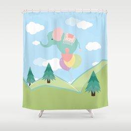 Elephant and Balloons, nursery decor , Shower Curtain