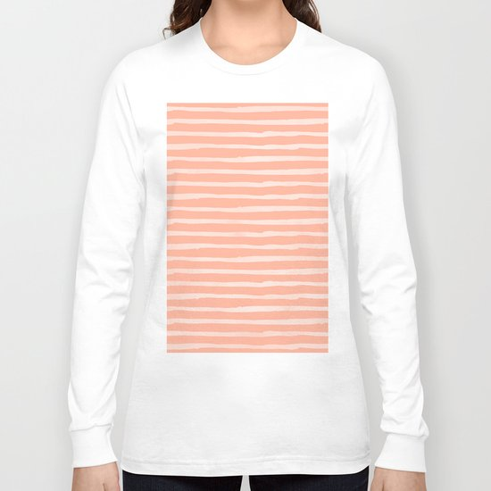 Sweet life thin stripes peach coral pink long sleeve t for Thin long sleeve t shirts