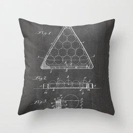 Pool Patent - Billiards Art - Black Chalkboard Throw Pillow