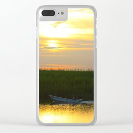 Skiff at Sunset Clear iPhone Case
