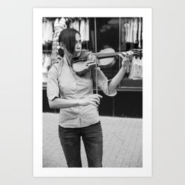 Bulgarian girl musician plays her violin on a street - Black and white musical photography Art Print