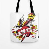 tatoo Tote Bags featuring Tatoo ART 5  by The Greedy Fox