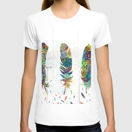mandala colorful feathers T-shirt