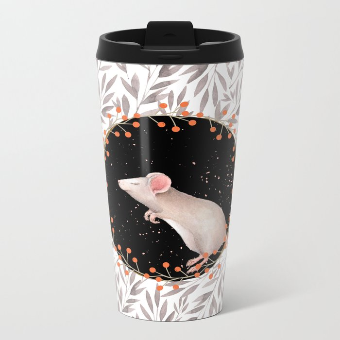 Beautiful nosey Mouse with flower backround- Animal- child -mice- flowers Metal Travel Mug