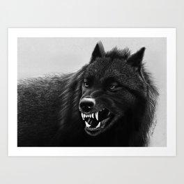 Growling Black Wolf Art Print