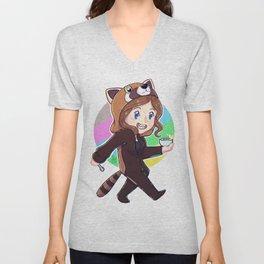 red panda onesie .AK Unisex V-Neck
