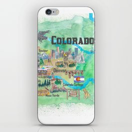 USA Colorado State Travel Poster Illustrated Art Map iPhone Skin