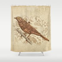 steampunk Shower Curtains featuring Steampunk Songbird  by Terry Fan