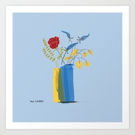 Floral Bouquet in Blue and Yellow Vases Art Print