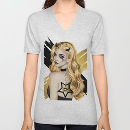 Golden Devil - Devil girl stylized vector portrait Unisex V-Neck