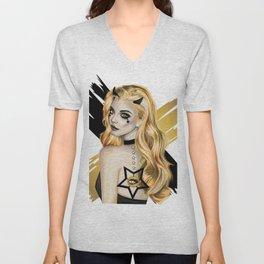 Golden Devil - Devil girl stylized vector portrait Unisex V-Neck