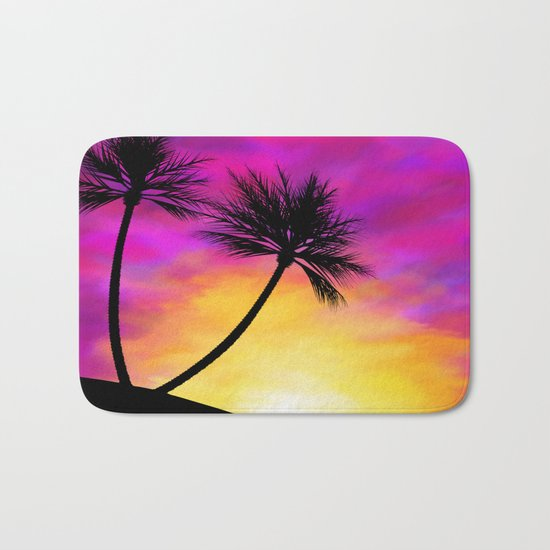 Palm Tree Sunset Bath Mat