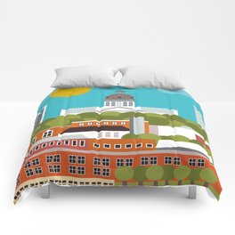 Columbia, South Carolina - Skyline Illustration by Loose Petals Comforters