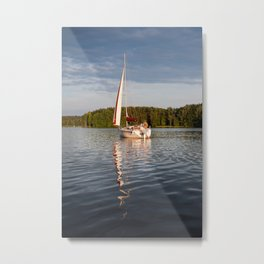 white boat sailing view Metal Print