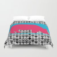 rhino Duvet Covers featuring rhino  by mark ashkenazi