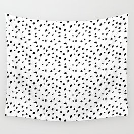 Spotted: Black And White Seamless Brush Pattern Wall Tapestry