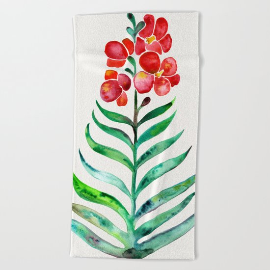 Blooming Orchid – Red & Green Palette Beach Towel