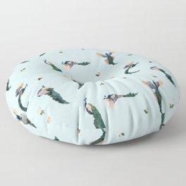 Preening Peacocks Floor Pillow