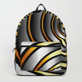 Concentric metallic rings in gold and silver-metallic texture artwork Backpack