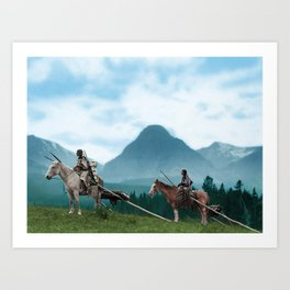 Waiting For The Hunters - Blackfoot Indian Women Art Print