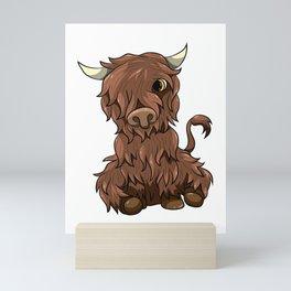 Cute Highland Cow Kawaii Cartoon Style Mini Art Print