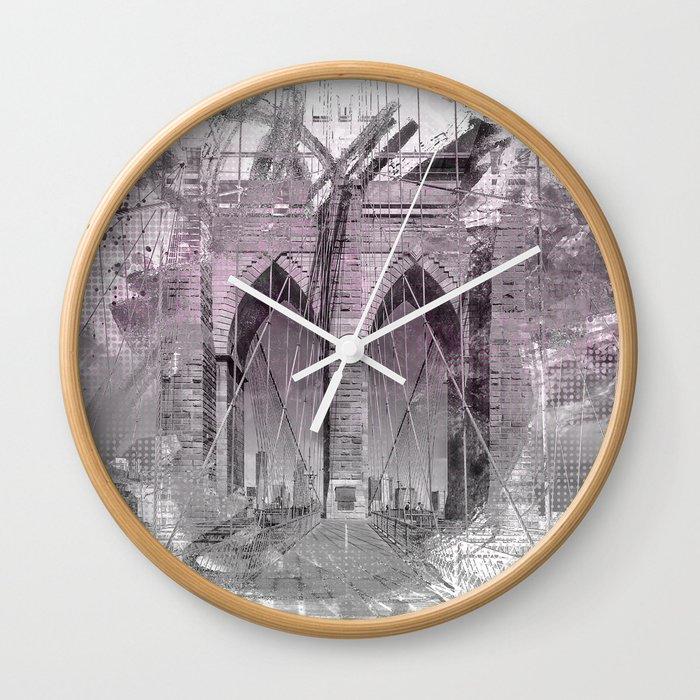City Art Brooklyn Bridge in Detail | rose Wall Clock