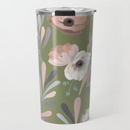 Anemones & Olives - Green Travel Mug