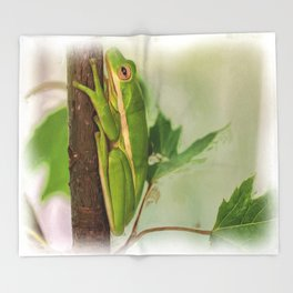 Painted Green Tree Frog Throw Blanket