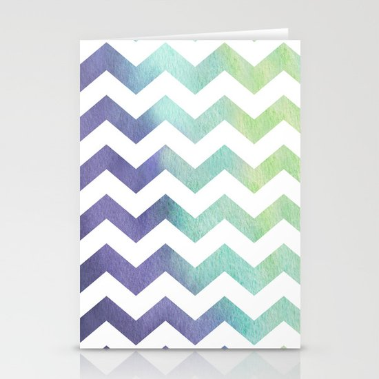 Watercolour Chevron Stationery Cards