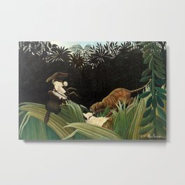 Henri Rousseau - Scouts Attacked by a Tiger Metal Print