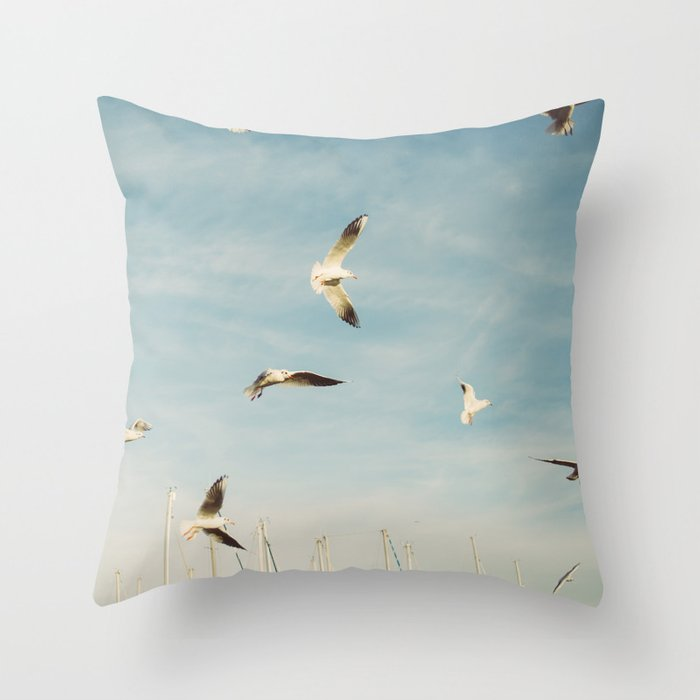 Seagulls Flying In The Sky Throw Pillow