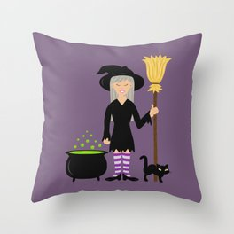 Cute Witch Girl And A Black Cat Halloween Design Throw Pillow