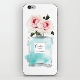 Perfume, watercolor, perfume bottle, with flowers, Teal, Silver, peonies, Fashion illustration, iPhone Skin