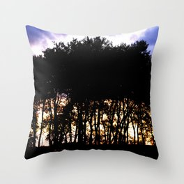 Prairie trees at Sunset Throw Pillow