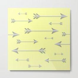 Silver Arrows on Yellow Metal Print