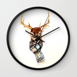 Deer buck with winter scarf - watercolor Wall Clock