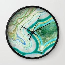 Sea Spray Crystal Agate Slice Wall Clock