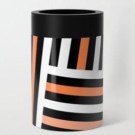 Retro chic white black orange stripes Can Cooler