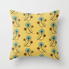 Mid Century Modern Dandelions on yellow Throw Pillow