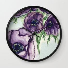 Violet Anemone Wall Clock
