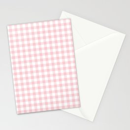Blush Pink Valentine Pale Pink and White Buffalo Check Plaid Stationery Cards
