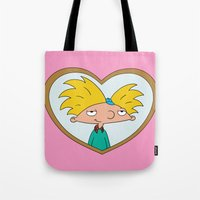 arnold Tote Bags featuring HEY ARNOLD! by SaladInTheWind