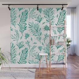 Elegant emerald green glitter foliage Wall Mural